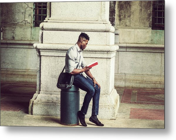 African American College Student Studying In New York Metal Print