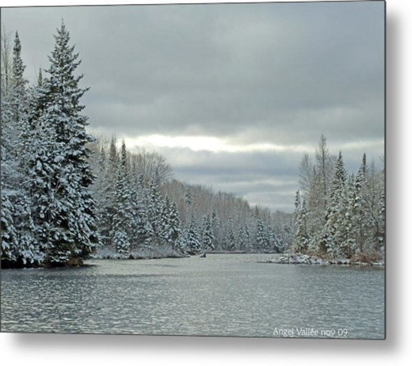 After The Snowstorm Powder Metal Print by Angel Vallee