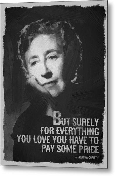 Agatha Christie Quote Black White Metal Print