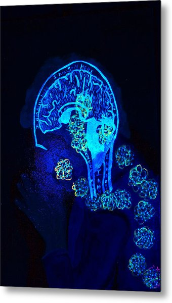 Al In The Mind Black Light View Metal Print