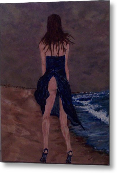 Alone By The Sea Metal Print by Francis Bourque