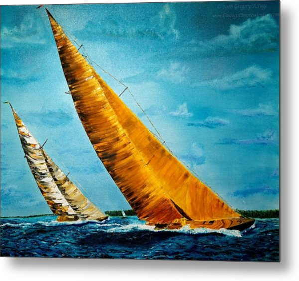 Americas Cup Sailboat Race Metal Print by Gregory Allen Page