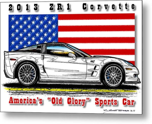 America's Old Glory 2013 Zr1 Corvette Metal Print