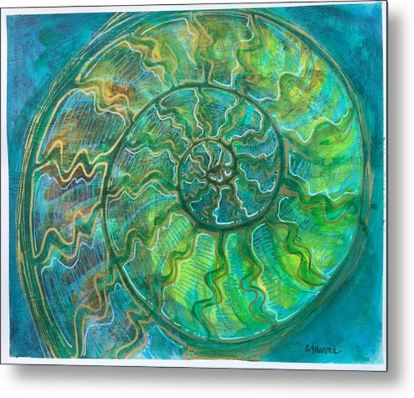 Metal Print featuring the painting Ammonite Number One by Laurie Maves ART