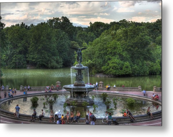 Angel Of The Waters Fountain  Bethesda Metal Print