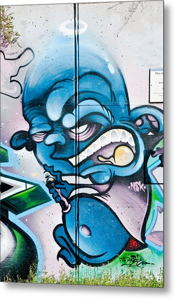 Angry Blue Creature With A Spray-paint Can Metal Print