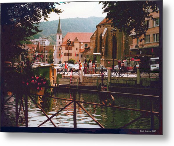 Annecy France Village Scene Metal Print