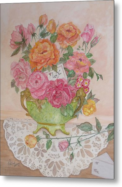 Antique Bowl With Roses Metal Print