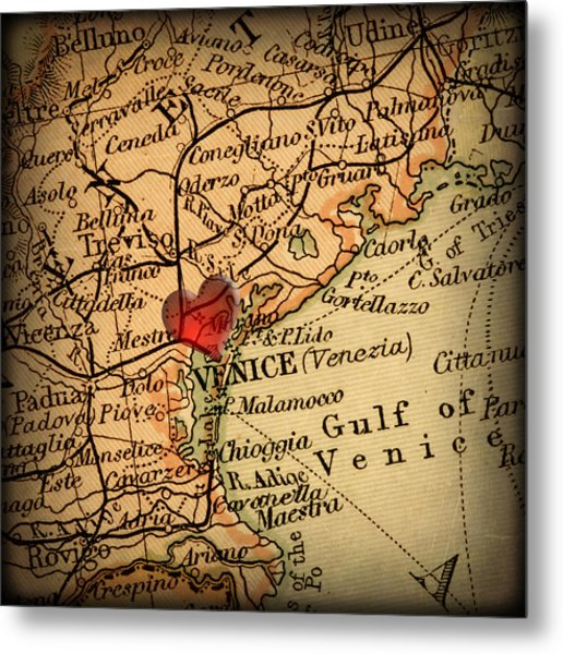 Antique Map With A Heart Over The City Of Venice In Italy Metal Print by ELITE IMAGE photography By Chad McDermott