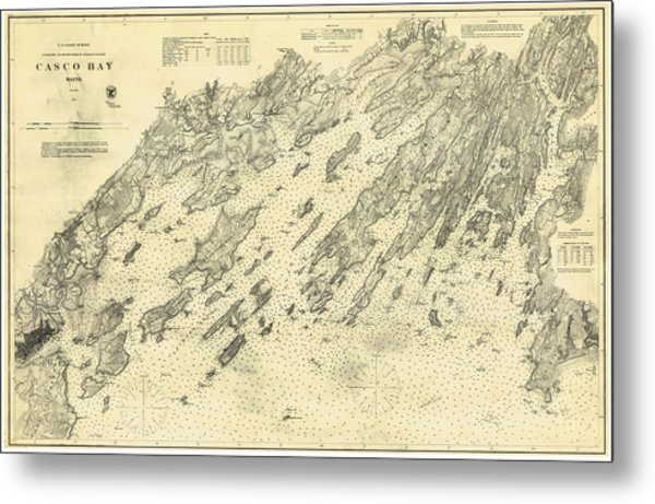 Antique Maps - Old Cartographic Maps - Antique Map Of Casco Bay, Maine, 1870 Metal Print