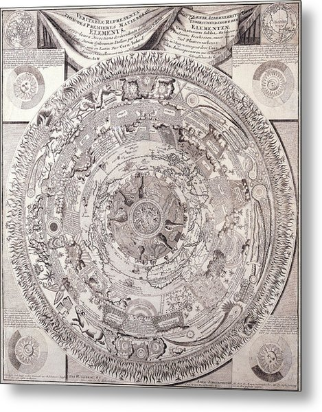 Antique Maps - Old Cartographic Maps - Antique Map Of The Elements - Celestial Map, 1603 Metal Print