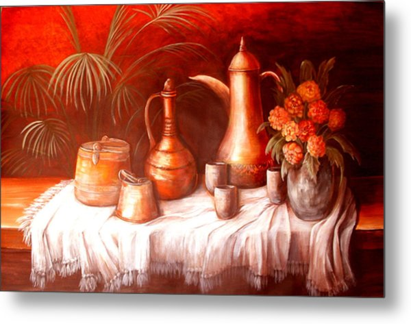 Antique Moroccan Pots Still Life Metal Print