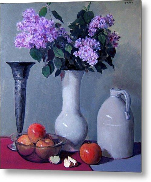Apples And Lilacs, Silver Vase, Vintage Stoneware Jug Metal Print