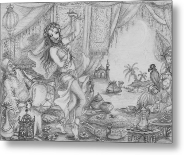 Arabian Nights Study Metal Print by Yvonne Ayoub