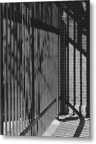 Art And Design Center Security Gate Metal Print by Jim Furrer
