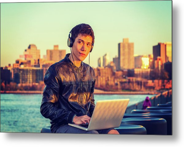 Asian American College Student Traveling, Studying In New York Metal Print
