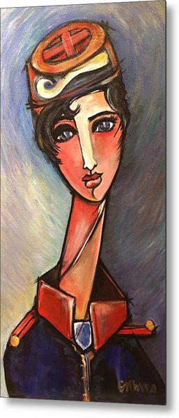 Metal Print featuring the painting Assisente Di Volo by Laurie Maves ART
