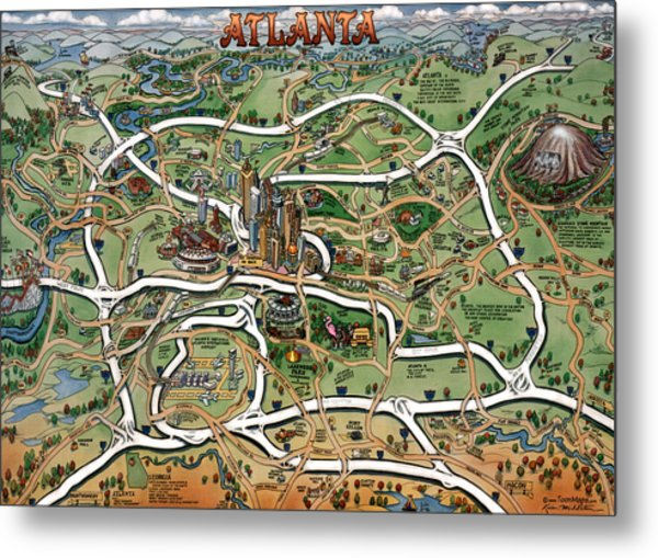 Atlanta Cartoon Map Metal Print
