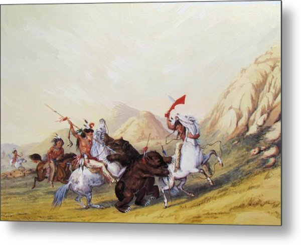 Attacking The Grizzly Bear 1844 Metal Print