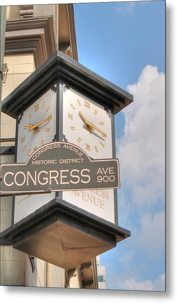 Austin Street Sign And Clock Metal Print