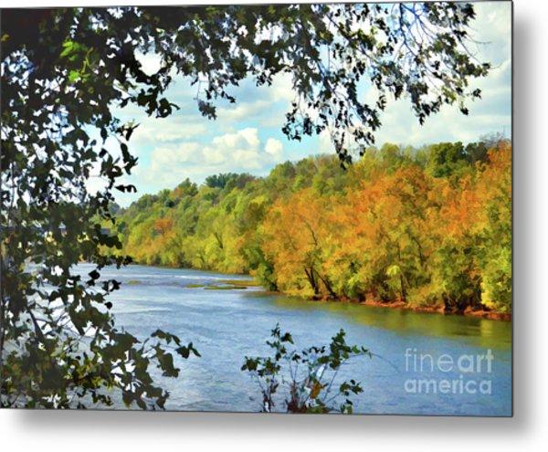 Autumn Along The New River - Bisset Park - Radford Virginia Metal Print