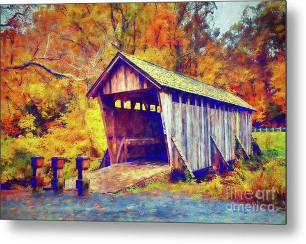 Autumn Fall Colors - Pisgah Covered Bridge Ap Metal Print