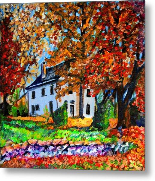 Autumn Farmhouse Metal Print by Laura Heggestad