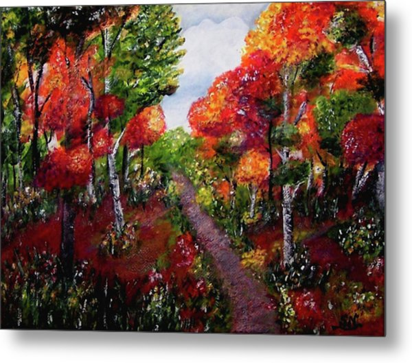 Metal Print featuring the painting Autumn Path by Sonya Nancy Capling-Bacle