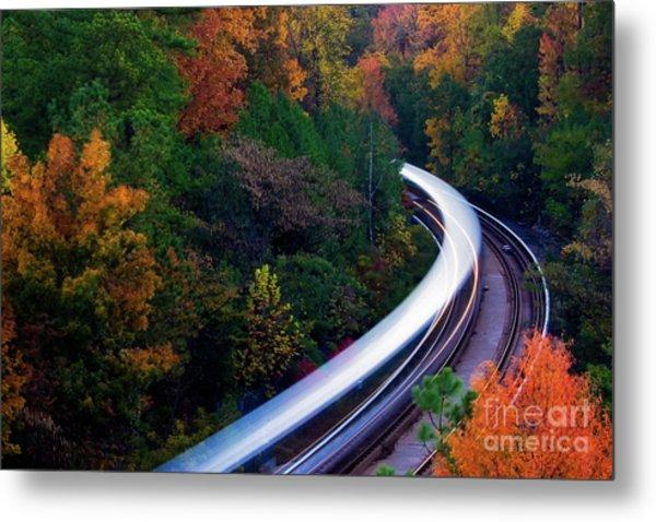 Autumn Rails Metal Print
