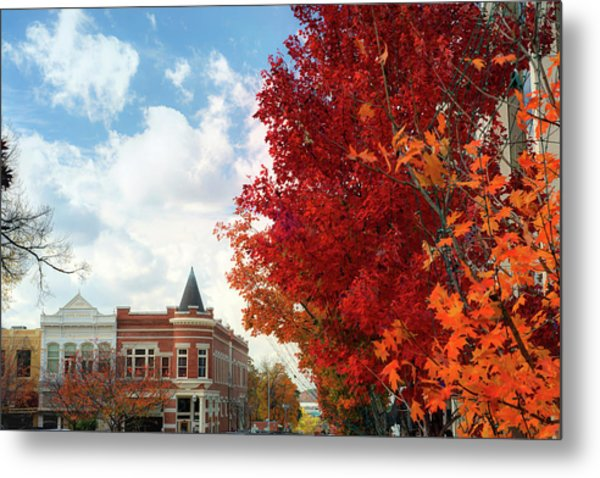 Autumn Splendor Along The Downtown Fayetteville Arkansas Skyline  Metal Print