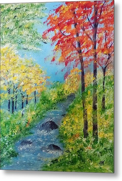 Metal Print featuring the painting Autumn Stream by Sonya Nancy Capling-Bacle