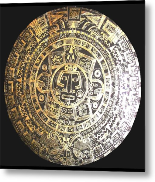 Aztec Calendar Metal Print