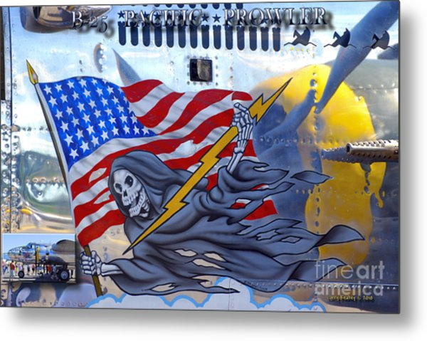 B-25 Pacific Prowler Nose Art Metal Print by Larry Keahey