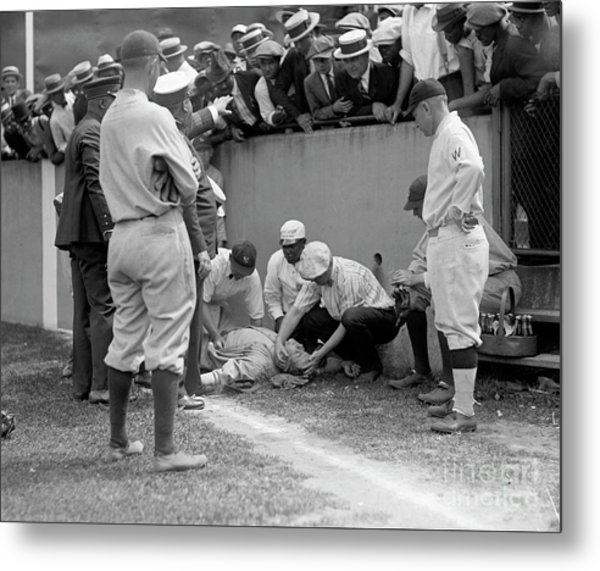 Babe Ruth Knocked Out By A Wild Pitch Metal Print
