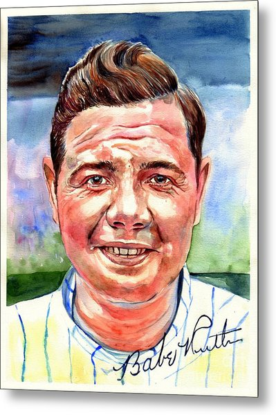 Babe Ruth Portrait Metal Print