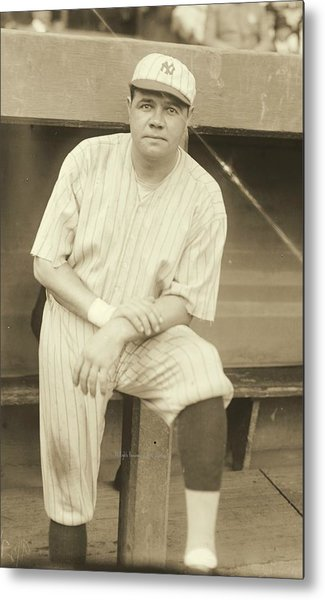 Babe Ruth Posing Metal Print