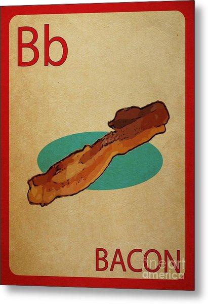 Bacon Vintage Style Flashcard Metal Print by Mynameisjz JZ