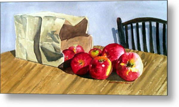 Bag With Apples Metal Print by Anne Trotter Hodge