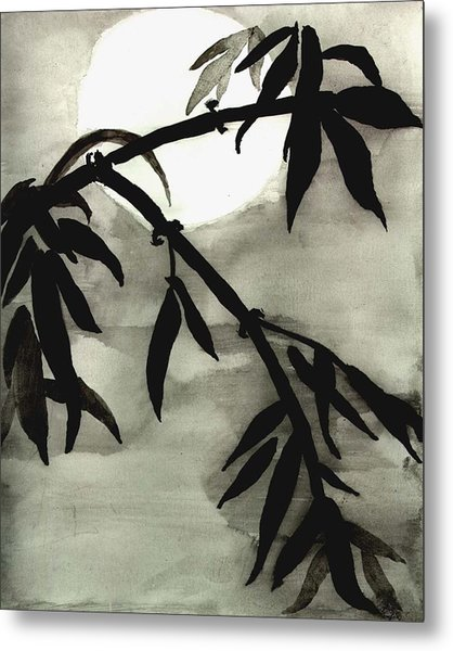 Bamboo In Moonlight - Watercolor Painting Metal Print