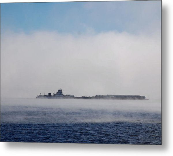Barge In Morning Fog Metal Print by Larry Nielson
