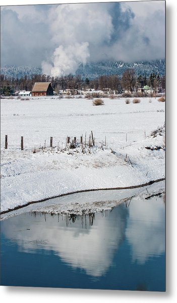 Barn In Winter Metal Print