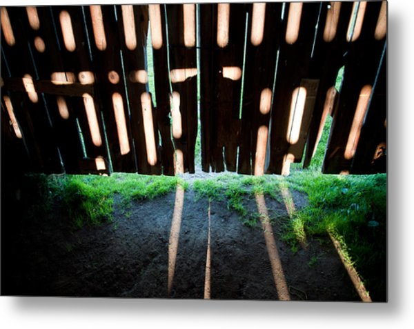 Barn Interior Shadows Metal Print