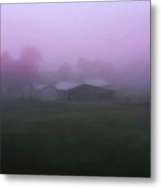 Barn On A Misty Morning Metal Print