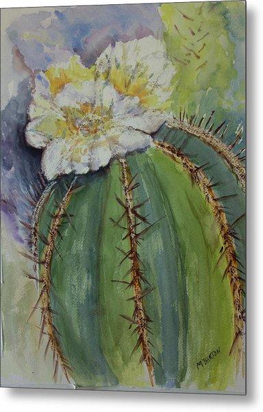 Barrel Cactus In Bloom Metal Print by Marilyn Barton