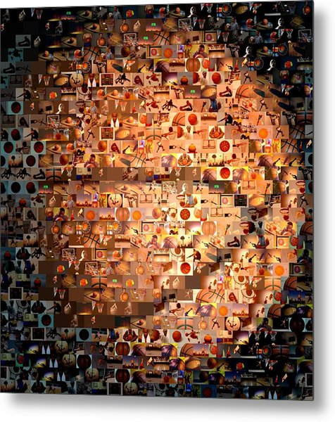 Basketball Mosaic Metal Print