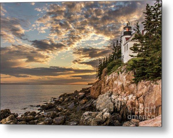 Bass Harbor Head Lighthouse Sunset Metal Print
