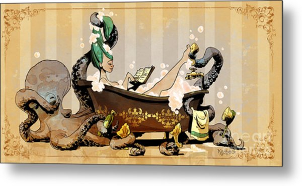 Bath Time With Otto Metal Print by Brian Kesinger