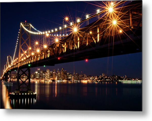 Bay Bridge In Front Of San Francisco Skyline Metal Print by Blue Hour Photography