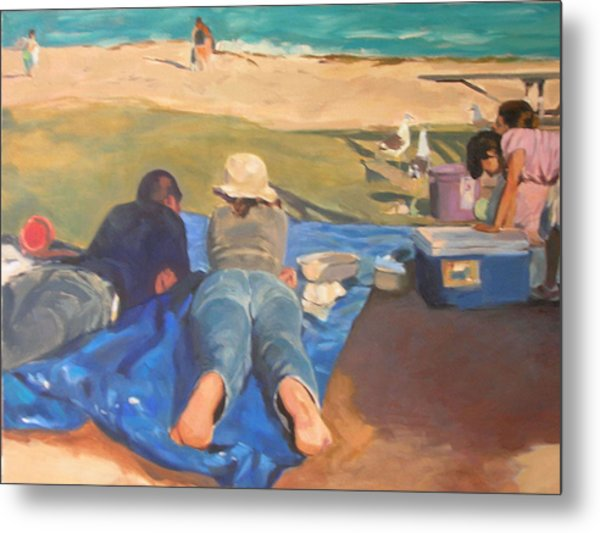 Beach Picnic Metal Print by Merle Keller