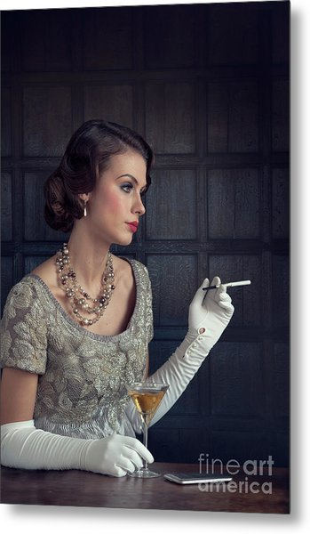 Beautiful 1930s Woman With Cocktail And Cigarette Metal Print